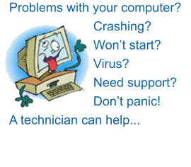 Problems with your computer? Crashing? Won't start? Virus? Need support? Don't panic!  A technician can help...
